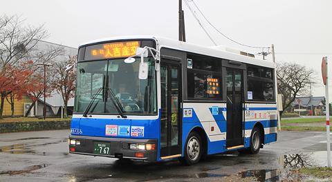 産交バス人吉営業所(人吉産交)で活躍するバスと湯前駅前