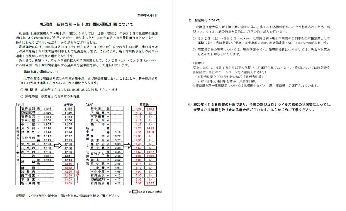 札沼線最終運行について 20200403